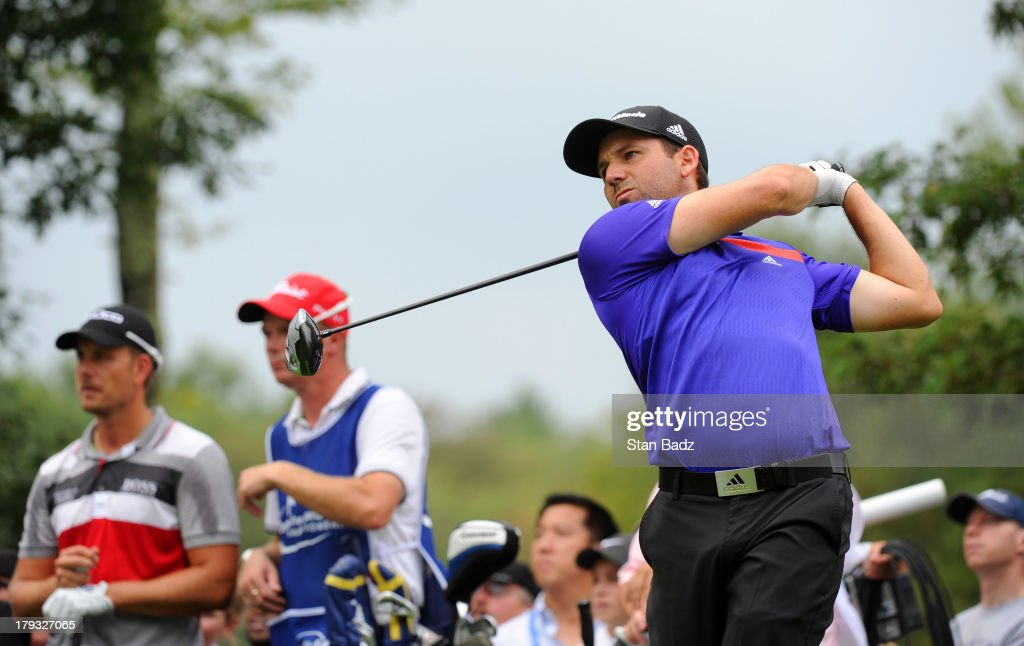 Sergio Garcia of Spain hits a tee shot on the sixth hole during the third round of the Deutsche Bank Championship at TPC Boston on September 1, 2013 in Norton, Massachusetts.