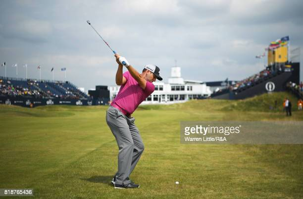 Sergio Garcia of Spain hits an approach to the 18th green during a practice round prior to the 146th Open Championship at Royal Birkdale on July 19...