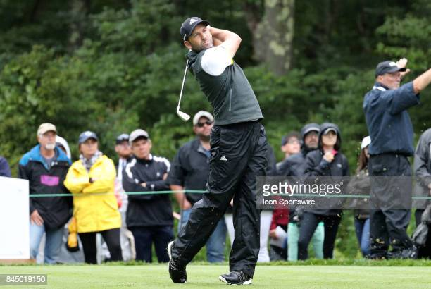 Sergio Garcia of Spain hits from the 8th tee during the third round of the Dell Technologies Championship on September 3 at TPC Boston in Norton...