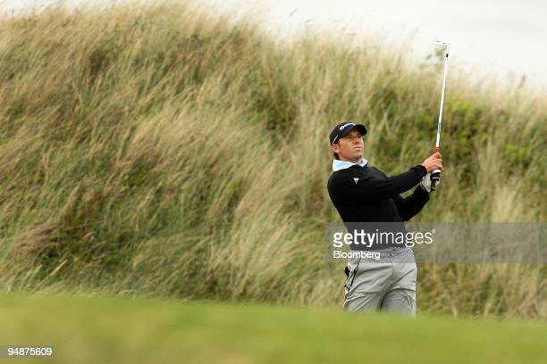 Sergio Garcia of Spain hits his approach shot on the 9th hole during day one of the British Open Championship at Royal Birkdale Lancashire UK on...