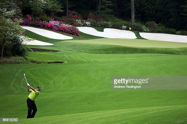 Sergio Garcia of Spain hits his second shot on the 13th hole during the third round of the 2009 Masters Tournament at Augusta National Golf Club on...