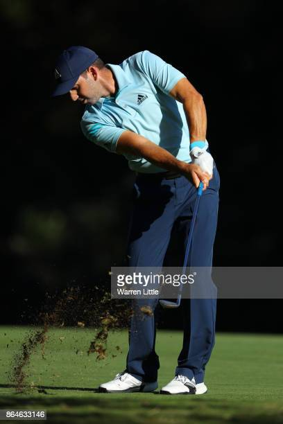 Sergio Garcia of Spain hits his second shot on the 16th hole during day three of the Andalucia Valderrama Masters at Real Club Valderrama on October...