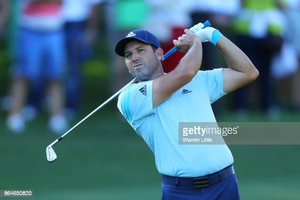 Sergio Garcia of Spain hits his second shot on the 18th hole during day three of the Andalucia Valderrama Masters at Real Club Valderrama on October...