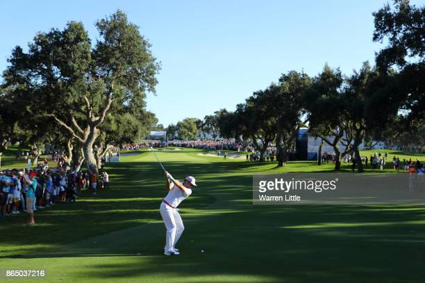 Sergio Garcia of Spain hits his second shot on the 18th hole during the final round of of the Andalucia Valderrama Masters at Real Club Valderrama on...
