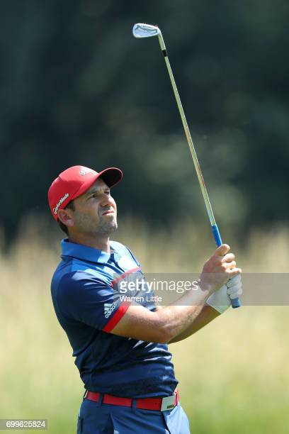 Sergio Garcia of Spain hits his second shot on the 3rd hole during day one of the BMW International Open at Golfclub Munchen Eichenried on June 22...
