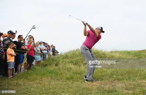 Sergio Garcia of Spain hits his second shot on the 6th hole during a practice round prior to the 146th Open Championship at Royal Birkdale on July 19...