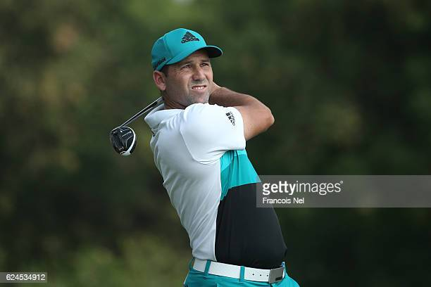 Sergio Garcia of Spain hits his seond shot on the 2nd hole during day four of the DP World Tour Championship at Jumeirah Golf Estates on November 20...