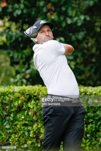 Sergio Garcia of Spain hits his tee shot on during the second round of the ATT Byron Nelson on May 19 2017 at the TPC Four Seasons Resort in Irving TX