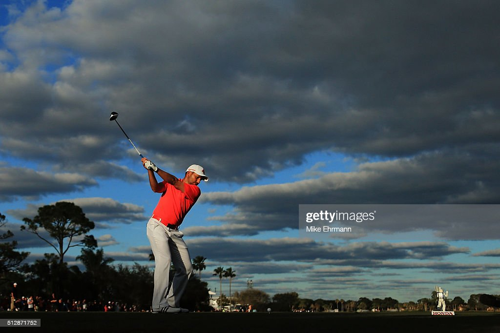 Sergio Garcia of Spain hits his tee shot on the 18th hole during the final round of the Honda Classic at PGA National Resort & Spa - Champions Course on February 28, 2016 in Palm Beach Gardens, Florida.