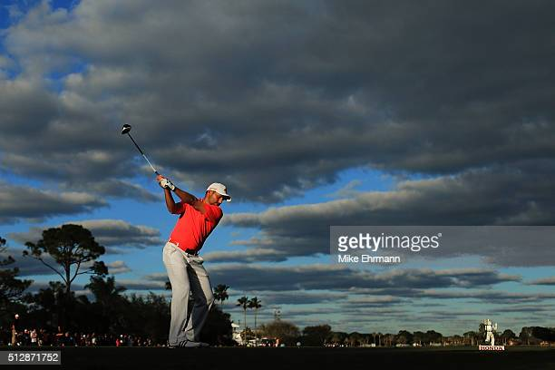 Sergio Garcia of Spain hits his tee shot on the 18th hole during the final round of the Honda Classic at PGA National Resort Spa Champions Course on...