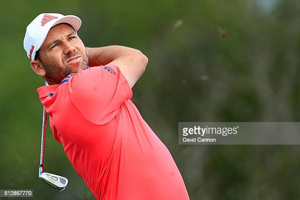 Sergio Garcia of Spain hits his tee shot on the fifth hole during the final round of the Honda Classic at PGA National Resort Spa Champions Course on...