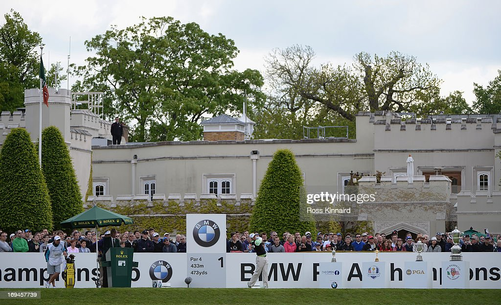 Sergio Garcia of Spain hits his tee shot on the first hole during the third round of the BMW PGA Championship on the West Course at Wentworth on May 25, 2013 in Virginia Water, England.