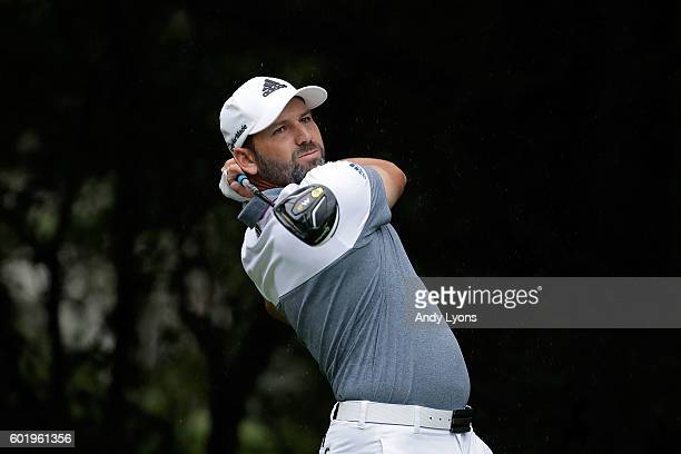 Sergio Garcia of Spain hits his tee shot on the second hole during the third round of the BMW Championship at Crooked Stick Golf Club on September 10...