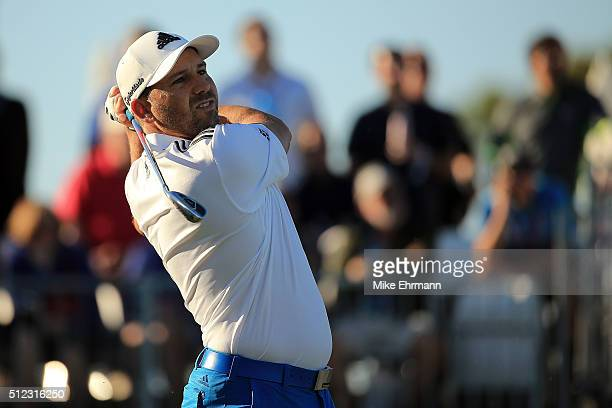 Sergio Garcia of Spain hits his tee shot on the seventeenth hole during the first round of the Honda Classic at PGA National Resort Spa Champions...