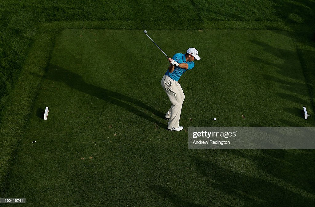 Sergio Garcia of Spain hits his tee-shot on the 17th hole during the first round of the Omega Dubai Desert Classic at Emirates Golf Club on January 31, 2013 in Dubai, United Arab Emirates.