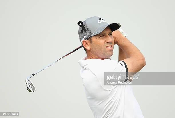Sergio Garcia of Spain hits his teeshot on the second hole during the final round of the BMW Masters at Lake Malaren Golf Club on November 15 2015 in...
