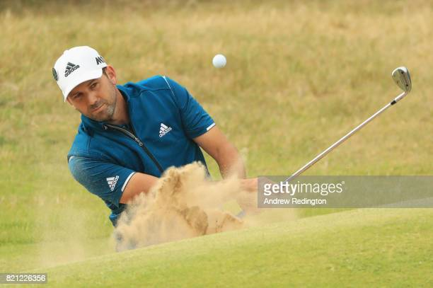 Sergio Garcia of Spain hits his third shot from the bunker on the 18th hole during the final round of the 146th Open Championship at Royal Birkdale...