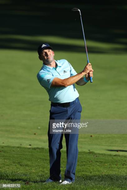 Sergio Garcia of Spain hits his third shot on the 16th hole during day three of the Andalucia Valderrama Masters at Real Club Valderrama on October...