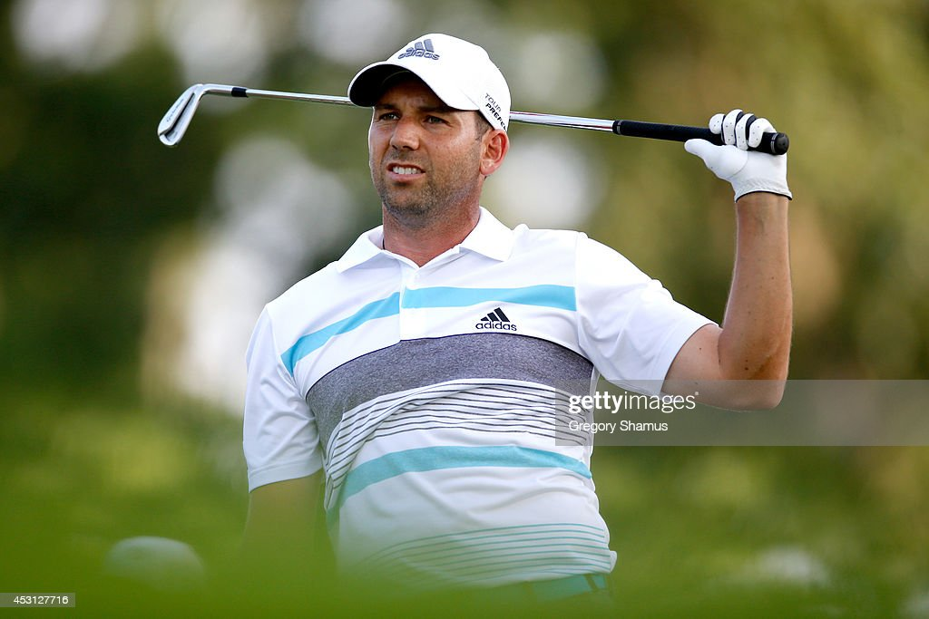Sergio Garcia of Spain hits off the 15th tee during the final round of the World Golf Championships-Bridgestone Invitational at Firestone Country Club South Course on August 3, 2014 in Akron, Ohio.