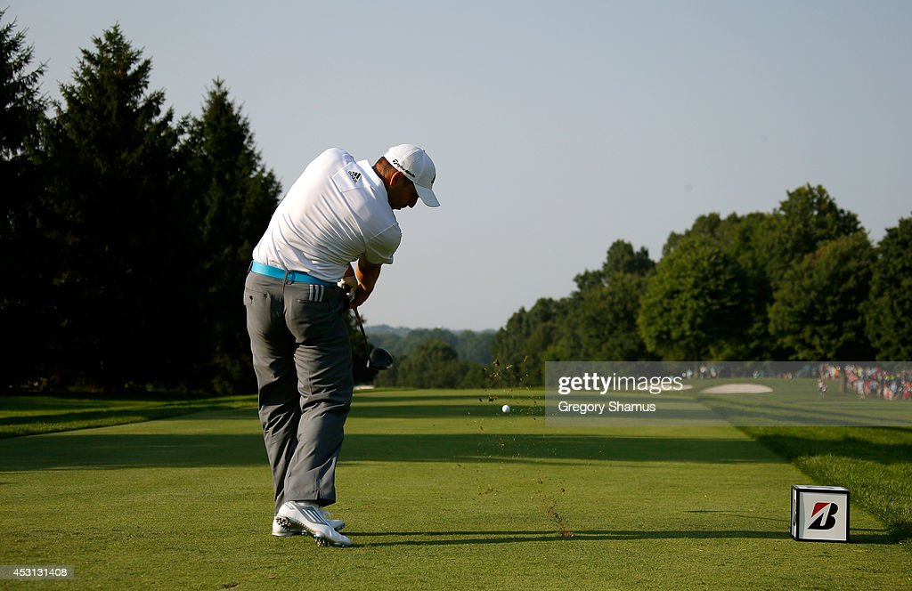 Sergio Garcia of Spain hits off the 16th tee during the final round of the World Golf Championships-Bridgestone Invitational at Firestone Country Club South Course on August 3, 2014 in Akron, Ohio.