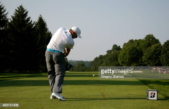 Sergio Garcia of Spain hits off the 16th tee during the final round of the World Golf ChampionshipsBridgestone Invitational at Firestone Country Club...