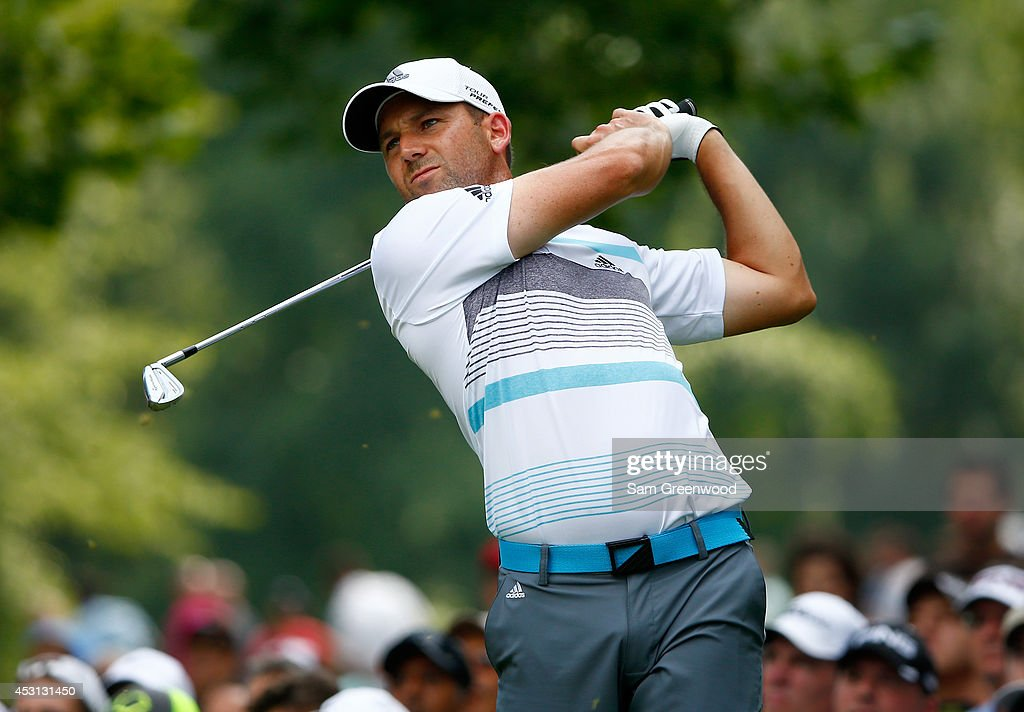 Sergio Garcia of Spain hits off the fifth tee during the final round of the World Golf Championships-Bridgestone Invitational at Firestone Country Club South Course on August 3, 2014 in Akron, Ohio.