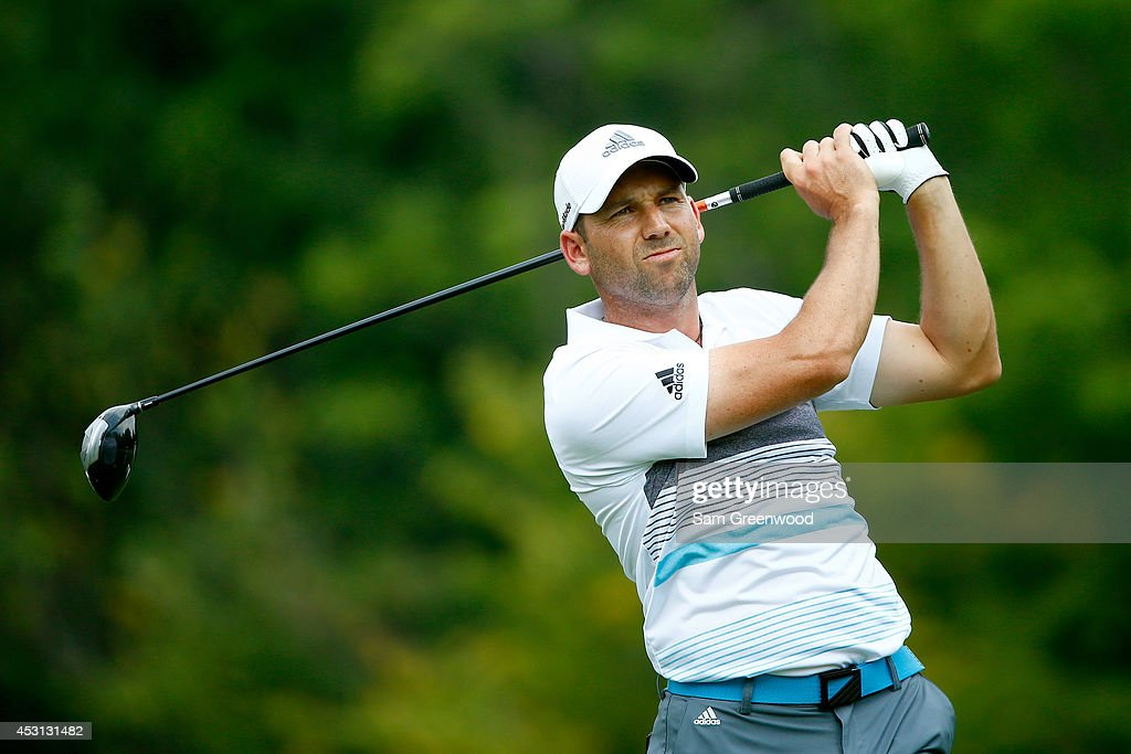 Sergio Garcia of Spain hits off the sixth tee during the final round of the World Golf Championships-Bridgestone Invitational at Firestone Country Club South Course on August 3, 2014 in Akron, Ohio.