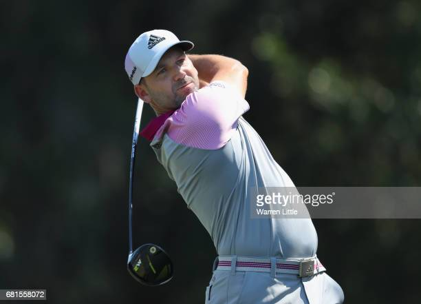 Sergio Garcia of Spain in action during a practice round ahead of THE PLAYERS Championship on the Stadium Course at TPC Sawgrass on May 10 2017 in...