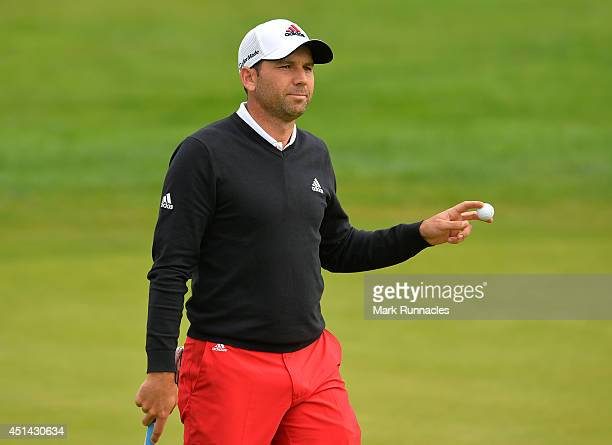Sergio Garcia of Spain in action during the fourth round of the BMW International Open at Golf Club Gut Larchenhof on June 29 2014 in Cologne Germany