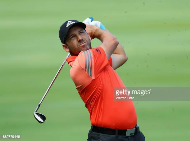 Sergio Garcia of Spain in action during the pro am ahead of the Andalucia Valderrama Masters at Real Club Valderrama on October 18 2017 in Cadiz Spain