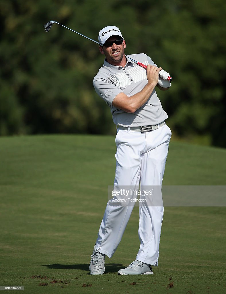Sergio Garcia of Spain in action during the Pro Am prior to the start of the Dubai World Championship on the Earth Course at Jumeirah Golf Estates on November 20, 2012 in Dubai, United Arab Emirates.