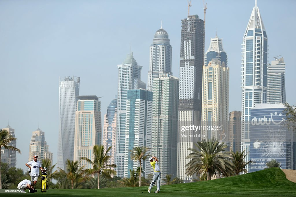 Sergio Garcia of Spain in action during the pro-am of the Omega Dubai Desert Classic at Emirates Golf Club on January 30, 2013 in Dubai, United Arab Emirates.