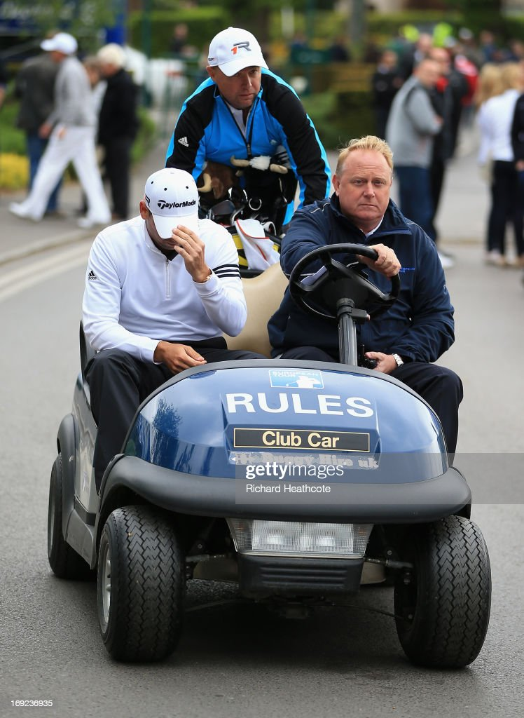 Sergio Garcia of Spain is driven to a press conference during the Pro-Am round prior to the BMW PGA Championship on the West Course at Wentworth on May 22, 2013 in Virginia Water, England.