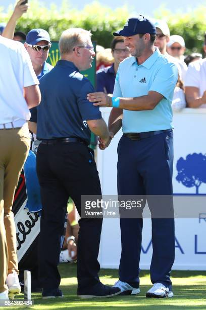 Sergio Garcia of Spain is greeted by European Tour Chief Executive Keith Pelley on the 1st tee during day three of the Andalucia Valderrama Masters...