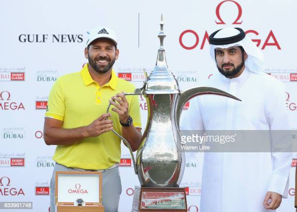 Sergio Garcia of Spain is presented with the trophy by His Highness Shaikh Ahmed Bin Mohammed Bin Rashid Al Maktoum the President of the UAE National...