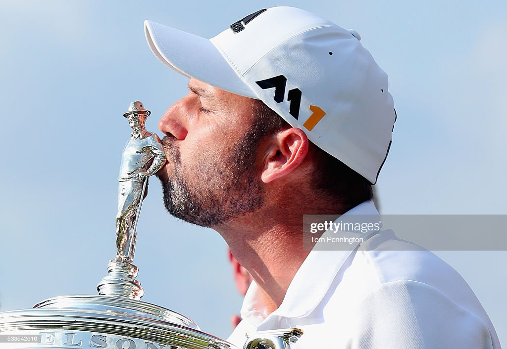 Sergio Garcia of Spain kisses the trophy after winning the ATT Byron Nelson at the TPC Four Seasons Resort on May 22 2016 in Irving Texas