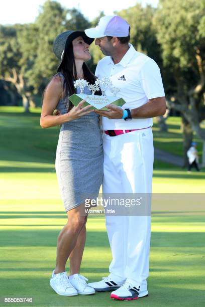 Sergio Garcia of Spain kisses wife Angela Akins following his victory during the final round of of the Andalucia Valderrama Masters at Real Club...