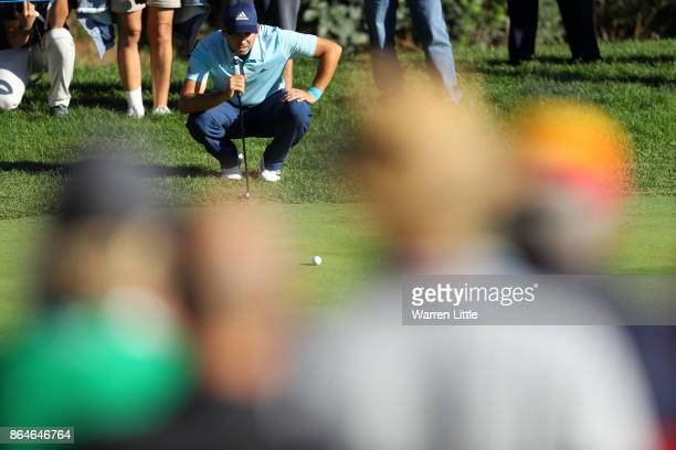 Sergio Garcia of Spain lines up a putt on the 15th green during day three of the Andalucia Valderrama Masters at Real Club Valderrama on October 21...