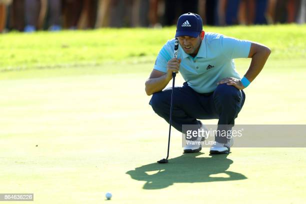 Sergio Garcia of Spain lines up a putt on the 16th green during day three of the Andalucia Valderrama Masters at Real Club Valderrama on October 21...