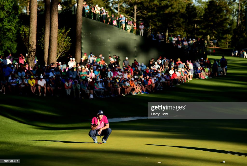 Sergio Garcia of Spain lines up a putt on the 16th green during the third round of the 2017 Masters Tournament at Augusta National Golf Club on April 8, 2017 in Augusta, Georgia.
