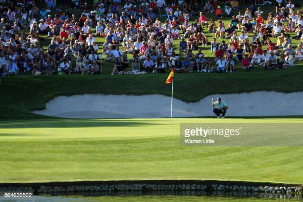 Sergio Garcia of Spain lines up a putt on the 17th green during day three of the Andalucia Valderrama Masters at Real Club Valderrama on October 21...