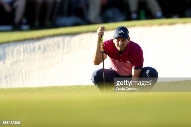 Sergio Garcia of Spain lines up a putt on the 17th green during the third round of the 2017 Masters Tournament at Augusta National Golf Club on April...