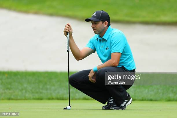 Sergio Garcia of Spain lines up a putt on the 1st green during day one of the Andalucia Valderrama Masters at Real Club Valderrama on October 19 2017...