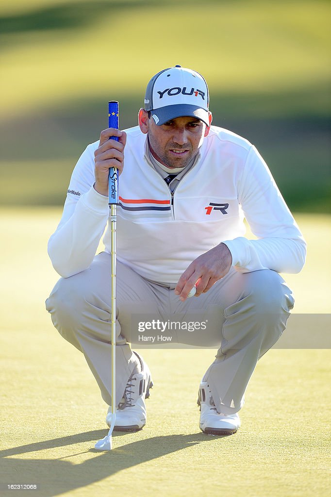 Sergio Garcia of Spain lines up a putt on the second green during the second round of the Northern Trust Open at the Riviera Country Club on February 15, 2013 in Pacific Palisades, California.