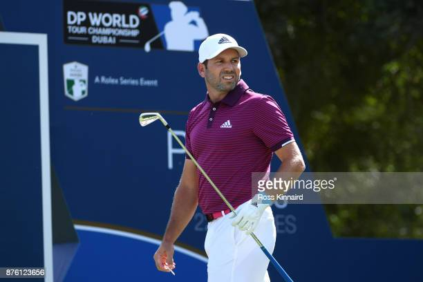 Sergio Garcia of Spain looks down the 4th hole during the final round of the DP World Tour Championship at Jumeirah Golf Estates on November 19 2017...
