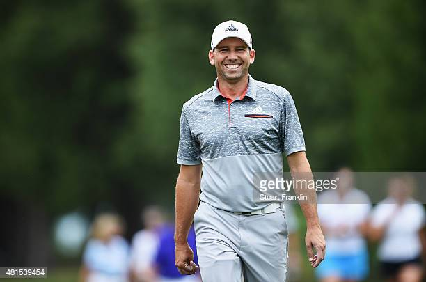 Sergio Garcia of Spain looks happy during the Pro Am prior to the start of the Omega European Masters at CranssurSierre Golf Club on July 22 2015 in...