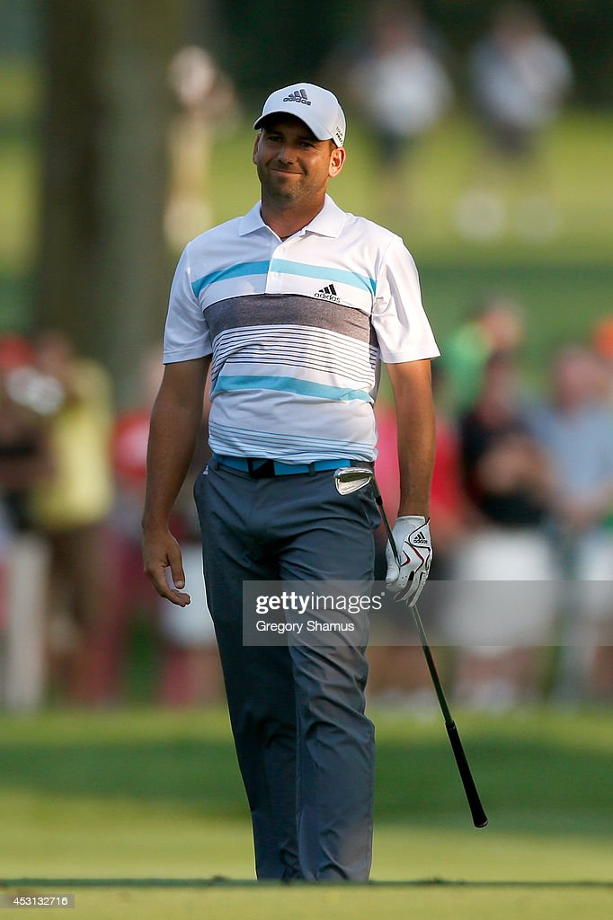 Sergio Garcia of Spain looks on after hitting from the 18th fairway during the final round of the World Golf Championships-Bridgestone Invitational at Firestone Country Club South Course on August 3, 2014 in Akron, Ohio.
