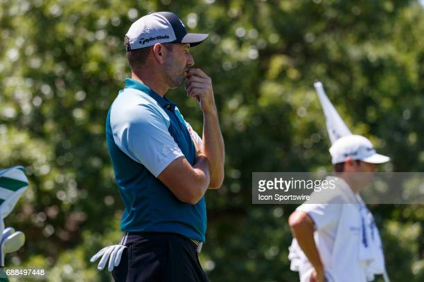 Sergio Garcia of Spain looks on to the 7th green during the first round of the Dean Deluca Invitational on May 25 2017 at Colonial Country Club in...