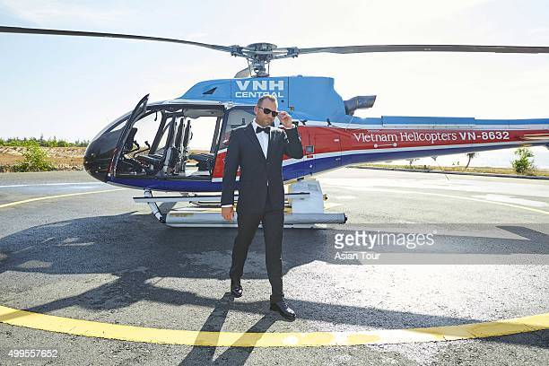 Sergio Garcia of Spain makes a stylish entrance at the Ho Tram Open at The Bluffs Ho Tram Strip on December 2 2015 in Ho Chi Minh City Vietnam