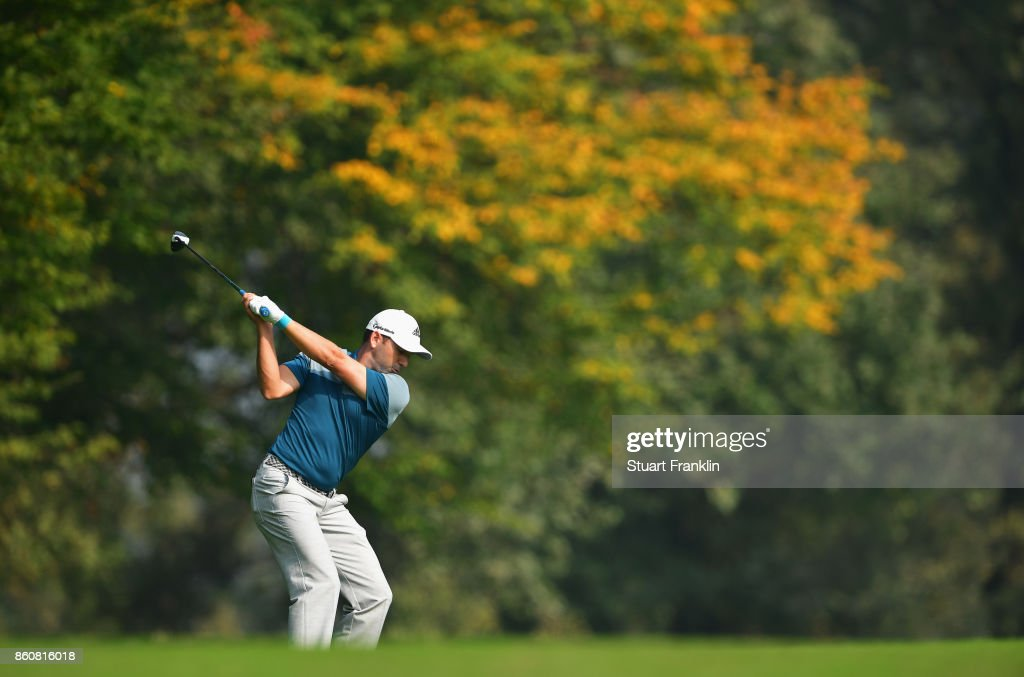 Sergio Garcia of Spain plays a shot during day two of the Italian Open at Golf Club Milano - Parco Reale di Monza on October 13, 2017 in Monza, Italy.